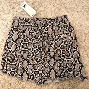 Zara python print denim skirt
